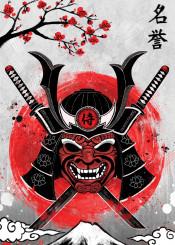 japan samurai red sun rubyart combat warrior katana