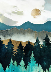 forest trees landscape mist fog mountains hills gold blue aqua white dream travel digital watercolor