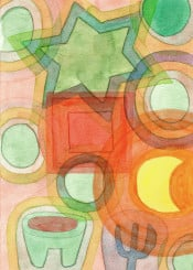 moon abstract pattern light painting watercolor romantic cool balance translucent fine contemporary green orange red yellow