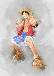 luffy pirate king onepiece watercolor