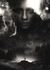 landscape surrealism surreal magic woman beauty clouds nature earth sky lightning fantasy dream trees forest journey travel face portrait conceptart conceptual modern contemporary original
