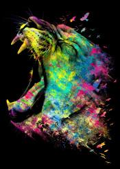 lion animal cat roar birds digital design cool unique neon colors grunge texture abstract