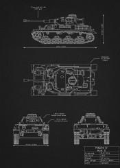 pzkpfw iv ausf g panzer tank armor weapon war german illustration blueprint design schematic black white