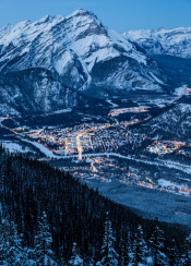 paradise town alberta canada banff mountain snow cold forest lights