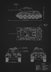 t34 85 tank panzer armor weapon war russia ussr black white illustration blueprint schematic diagram