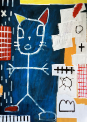 blue red yellow lines shapes grid cat