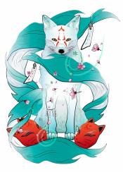 fox digital illustration japanese mask sakura flowers animal spirit kitsune protection winter blue cold red magic fantasy folklore legent wisdom decor kids adventure imagination