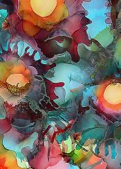 ink splash colorful original painting