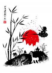 goku anime manga hero savage bamboo japan kawaii minimalist white black red sun rising tree monkey cloud magic kame hame birds japanese chinese china kanji heroe fly dragon ball