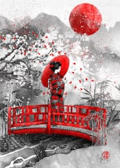 geisha red parasol blossoms japan