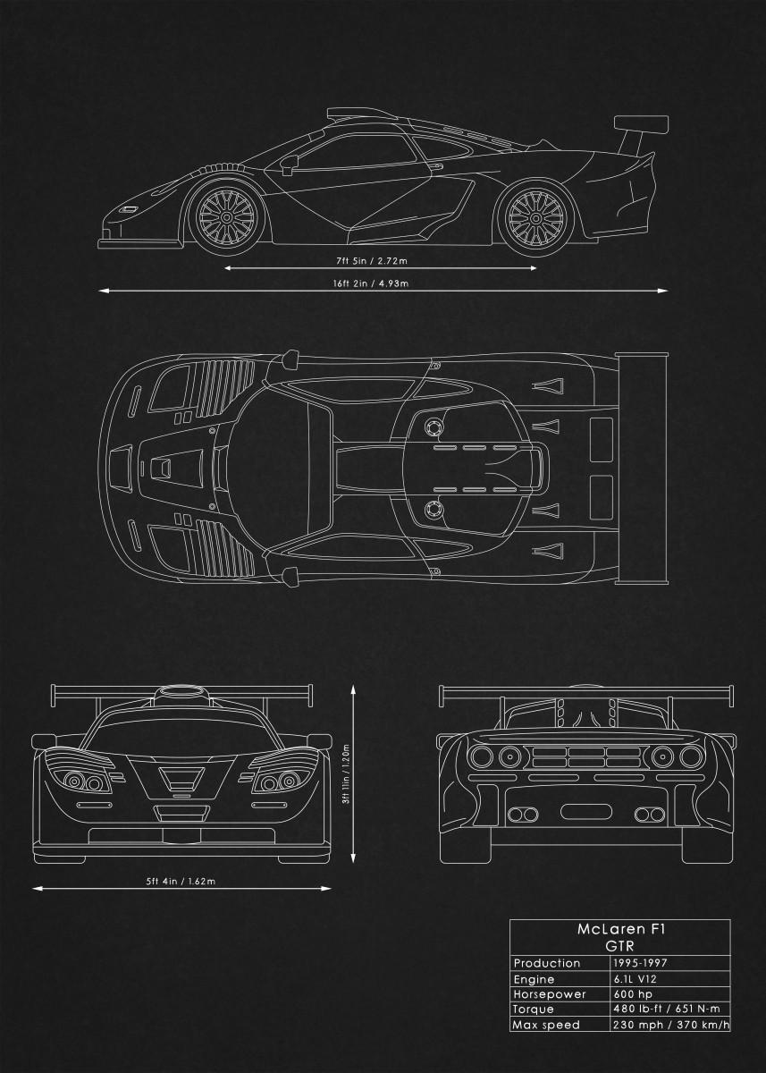 Supercars Blueprints By Rockstone Metal Posters Displate McLaren F1 Seats Mclaren  F1 Engine Diagram
