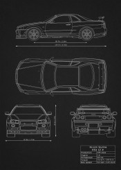 Supercars blueprints by rockstone metal posters displate nissan skyline r34 gtr car cars supercar black white need speed racing design blueprint schematic malvernweather Choice Image