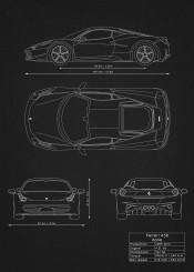 ferrari 458 italia car cars supercar racing need speed black white desing blueprint schematic