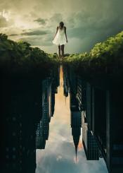 girl landscape nyc doubleexposure surreal