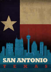 san antonio sanantonio texas city skyline state flag