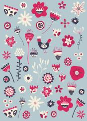 scandinavian folk floral flower flowers bird birds blue nordic nicsquirrell pink white