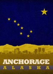 anchorage alaska travel city skyline state flag usa