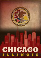 chicago illinois city skyline state flag windycity