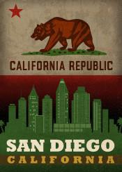 san diego sandiego california city skyline state flag republic usa