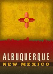 albuquerque newmexico city skyline state flag