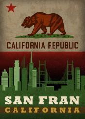 san francisco sanfrancisco california state flag city skyline republic