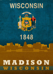 madison wisconsin city skyline state flag