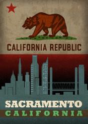 sacramento california city skyline state flag