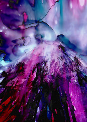 abstract nature mountain hill landscape ink purple blue decorative