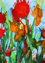 abstract painting ink nature floral flower colorful decorative