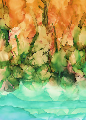 abstract ink landscape riverside tropical decorative