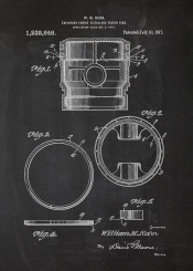 engine piston explosion car cars ring blackboard blueprint blackprint drawing patent vintage truck mechanic workshop