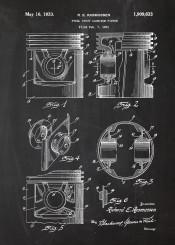 engine piston motorbike blackboard blueprint blackprint car cars truck mechanic workshop print plate drawing vintage patent