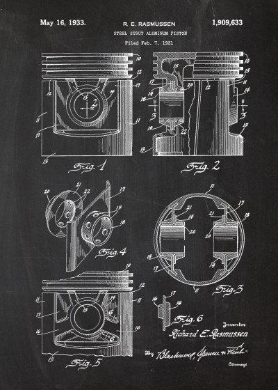 Marcin  ENGINE Patent Drawing   Displate Prints on Steel