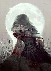 red riding hood wolf fairytale fable story storybook children childhood girl kids morbid death blood gore