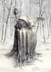 witch wicca wiccan pagan magic fairytale woods forest spirits owl birds snow winter
