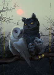 owls family furry anthro portrait gold surreal fantasy sunset dusk barn great horned owl birds