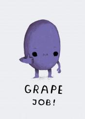 grape job grapejob greatjob grate fruit funny jorb grapes purple thumbs cute