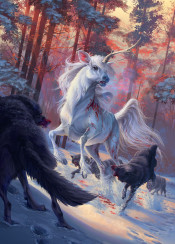 unicorn wolves wolf hunt prey deer nature wild environment winter snow woods forest blood