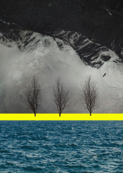 sea collage yellow blue mountains birds texture landscape trees surreal design