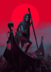 charon ferryman boatman underworld hades mythology greek death dead souls red skeleton styx sunset creepy