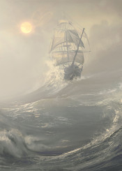tall ship tallship sails boat sea ocean storm waves sunset sun fog naval navy sailor sailing