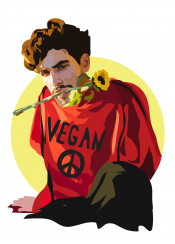 vegan dude red sunflower peace sign animal love food not friends