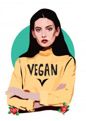 vegan animal love food friends yellow floral woman chick green