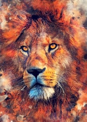lion lions cat cats wild animal animals watercolor digital decor decoration illustration