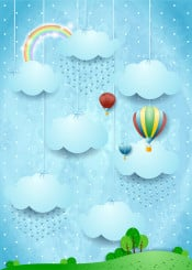 surreal fantasy dream dreaming fairy tale magical suggestive day daylight sunlight countryside landscape panorama sky cloud rain weather rainbow spring summer season balloon dirigible aircraft vintage fly travel kid childish