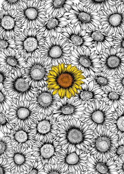 Giordano Aita Flowers and Leaves   Displate Prints on Steel