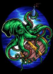 octopus drunk barrel green