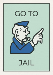 vintage monopoly boardgame playing card gotojail police