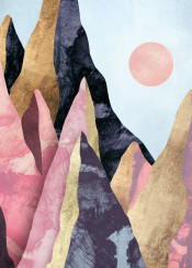 mauve peaks mountains landscape nature abstract contemporary digital watercolor dream pink rose blush purple lavender gold