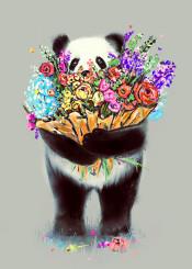 panda love flowers cute humor animals